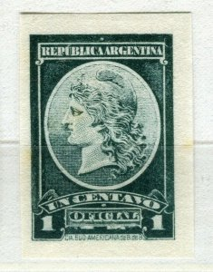 ARGENTINA; 1901 early classic Official PROOF COLOUR TRIAL Mint Imperf value
