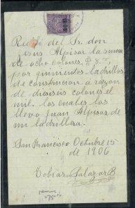 COSTA RICA COVER (P1308B)  1906 2C  ON REVENUE DOCUMENT