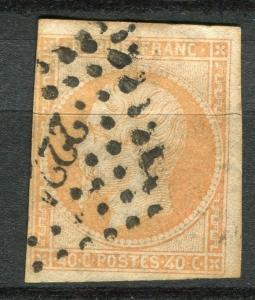 FRANCE; 1853 classic Napoleon Imperf issue used 40c. value fair Postmark