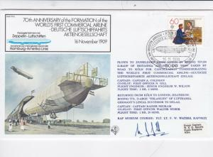 GB 1979 70th Anniv of 1st Commercial Airline FDC VGC Pilot Signed