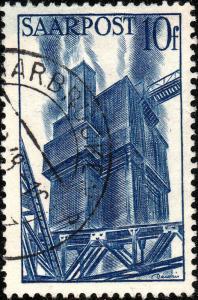 SARRE / SAARLAND - 1948  SAARBRÜCKEN 3  date stamp /Mi.248 10fr blast furnaces