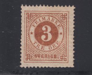 Sweden Sc 17 MLH. 1872 3ö bister brown Numeral, perf 14