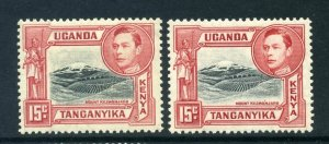 KUT 1938 KGVI 15c black + rose-red BOTH PERFS SG 137, 137a mint