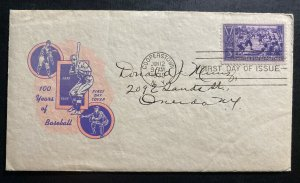 1939 Cooperstown USA First day Cover FDC Baseball Centenary Anniversary Sc#855