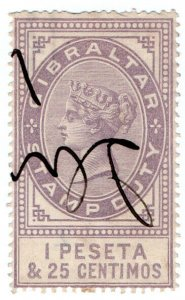 (I.B) Gibraltar Revenue : Duty Stamp 1P 25c