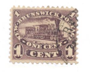 New Brunswick Sc 6 1860 1 c locomotive stamp used