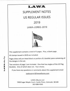 2019 US REGULAR ISSUES SUPPLEMENT – LAWA Album Pages