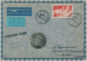 BK0029 - FRANCE- Postal History - FIRST FLIGHT: Lyon - Milano Pell # 117AA 1948