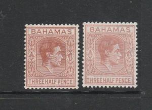Bahamas 1938/52 1 1/2d both listed shades MM SG 151 & 151a