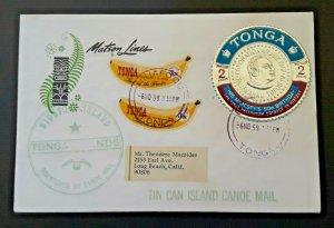 1969 Niuafo'ou Island Tonga To Long Beach CA Embossed Seal Tin Can Canoe Mail