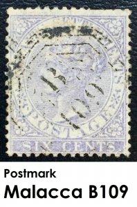 Malaya Straits Settlements 1868 QV 6c used pmk MALACCA B-109 SG#13 M2167