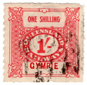 (I.B) Australia - Queensland Railways : Parcel Stamp 1/- (Gympie)
