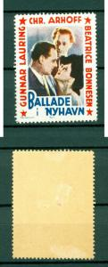 Denmark. Poster Stamp. MLH. Palladium # 1.Movie  Trouble in Nyhavn