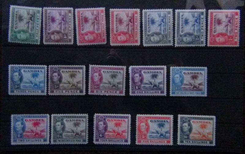 Gambia 1938 - 1946 set complete to 10s LMM Extra shade 1.5d
