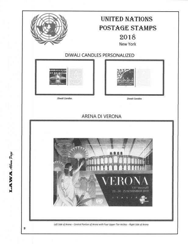 2018 UNITED NATIONS  ISSUES SUPPLEMENT – LAWA Album Pages