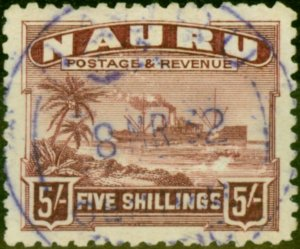 Nauru 1924 5s Claret SG38A Fine Used