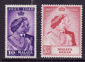 Malaya Kedah-Sc#55-6-unused hinged set-KGVI-Silver Wedding-1948-