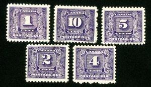 Canada Stamps # J6-10 VF OG NH Scott Value $312.50