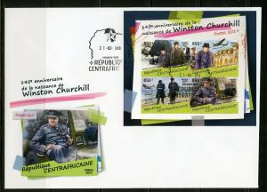 CENTRAL AFRICA 2019 145th BIRTH OF WINSTON CHURCHILL IMPERF SHEET FDC