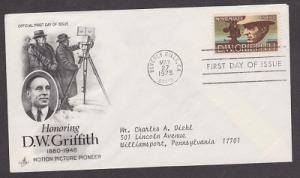 1555 D.W. Griffith ArtCraft FDC with neatly typewritten address