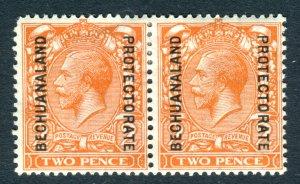 Bechuanaland Protectorate 1913 KGV. Pair x 2d orange Die II. Mint Hinged. SG77.