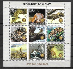 Guinea MNH S/S Savage Cats Wildlife  2012 9 Stamps