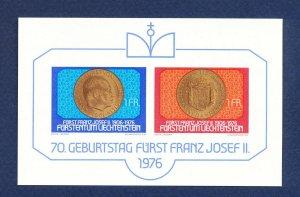 LIECHTENSTEIN - # 590 - VFMNH S/S - Prince Franz Josef II,  coin topical - 1976