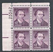 SCOTT # 1052 PLATE BLOCK $ 1.00 PATRICK HENRY MINT NEVER HINGED GEM 1955