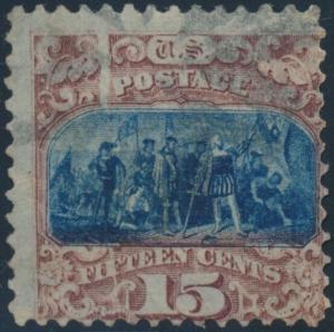 #119 VAR. LANDING OF COLUMBUS 15¢ USED WITH PRE-PRINT PAPER FOLD ERROR BP4095