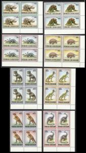 Central African Rep. Prehistoric Animals 8v Corner Blocks MATCHING SG#1291-1298