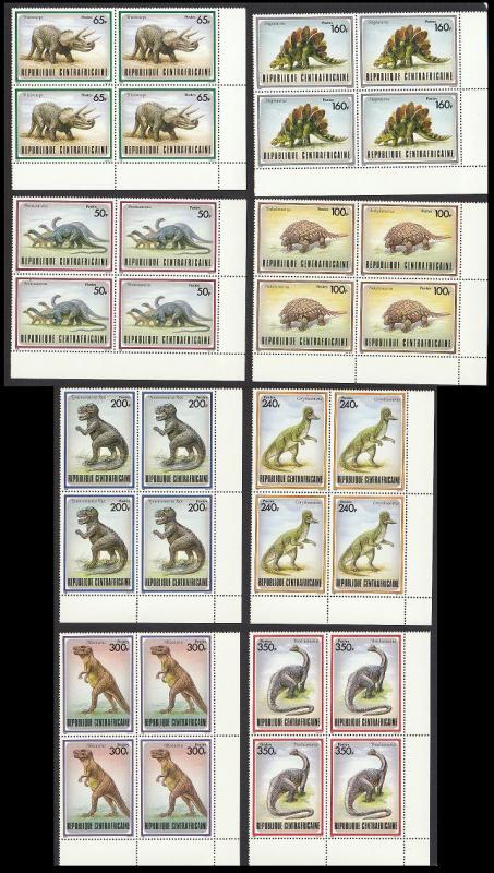 Central African Rep. Prehistoric Animals 8v Corner Blocks MATCHING SG#1291/98
