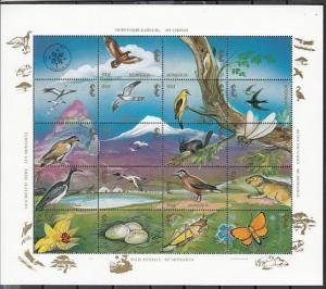 Mongolia, Scott cat. 2169 A-R. Wildlife sheet. Butterfly and Birds. ^