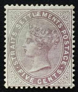 Malaya 1882 Straits Settlements QV 5c Purple-BrownCrownCC MNG SG#48 CV£120 M1913