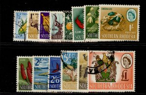 SOUTHERN RHODESIA QEII SG92-105, complete set, FINE USED. Cat £42.