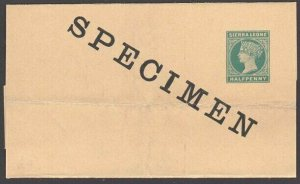 SIERRA LEONE QV ½d newspaper wrapper optd SPECIMEN - creases................7654