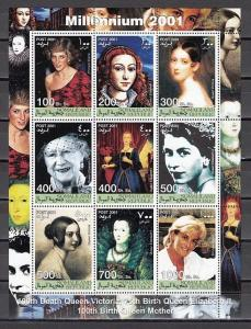 Somaliland, 2001 Cinderella issue. Royalty with Diana on a sheet of 9.