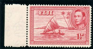 Fiji 1942 KGVI 1½d carmine (p14 - Die II) superb MNH. SG 252b. Sc 132b.