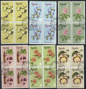 UGANDA SCOTT# 124-129 **CTO** FLOWERS 1969 BLK OF 4 SEE SCAN