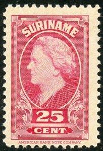 Surinam Scott 197 Unused LHOG - 1945 25c Queen Wilhelmina - SCV $10.00
