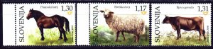 Slovenia. 2018. 1321-23 from the series. Horse, Sheep, Cow, Pets. MNH.
