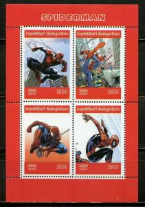 MADAGASCAR 2019 SPIDERMAN  SHEET OF FOUR MINT NEVER HINGED