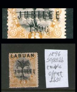 Malaya S. Setts. Labuan 1896 SG 85db treble print error Cat öÄ650 - scarce
