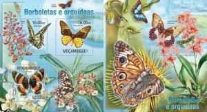 Mozambique 2013 butterflies insects klb+s/s MNH