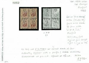 GB 6d Lilac Plate 18 BLOCK of 4 *JVF* PERFIN SG.162 Cat £2,750 1883 1052