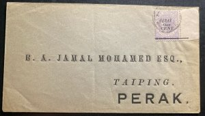 1891 iPoh Perak Straits Settlements Commercial Cover To Taiping SG#43