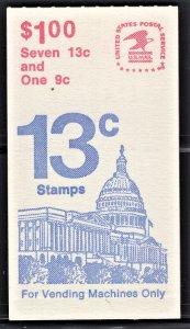 BK131, Scott 1623a, 13c Flag over Capitol + 9c single, MNH Booklet