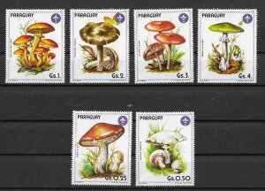 Paraguay MNH Set Of 6 Mushrooms