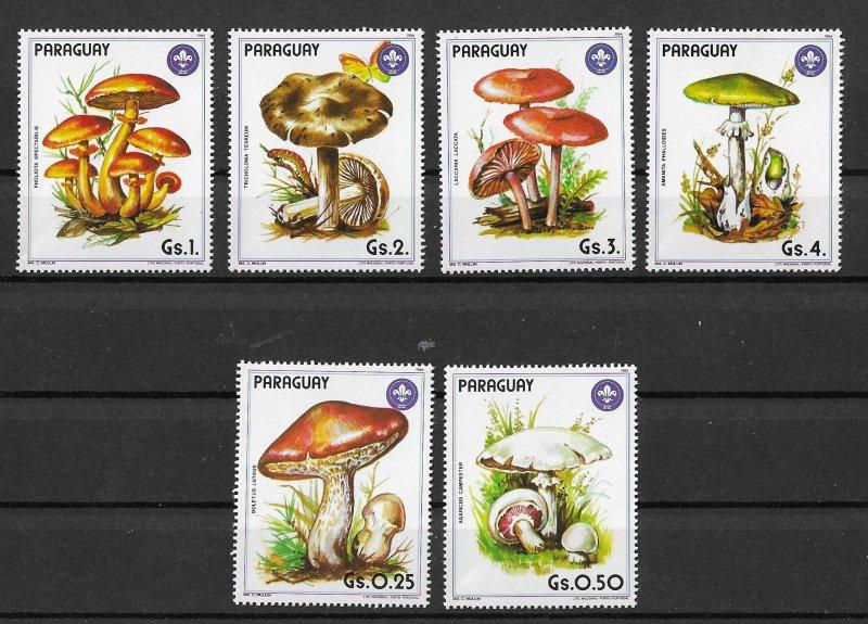 Paraguay MNH Set Of 6 Mushrooms