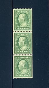 Scott #348 Washington  Mint Coil Strip of 3 Stamps NH (Stock #348-FR2)