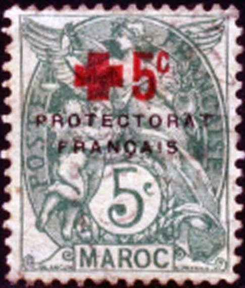 French Morocco 1915 Sc B6 Red Cross Surcharged Stamp MH